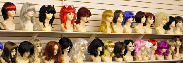 row of wigs