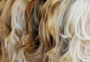 close-up of human hair wigs