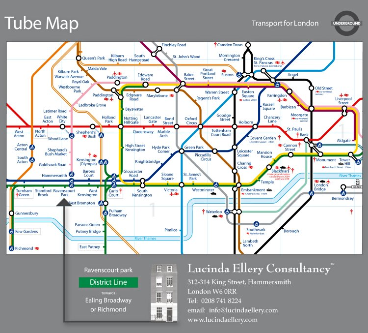 London Map Directions.Directions To The Lucinda Ellery Hair Loss Studio In London